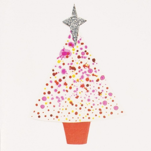 Pink Christmas Tree mini greeting card