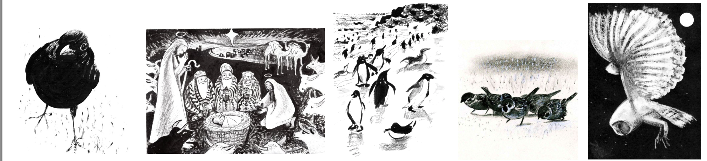 A range of greeting cards with black and white images of varied themes