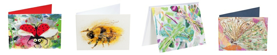 A range of greeting cards with images of butterflies, bees and bugs