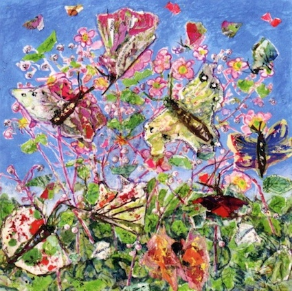 Wild Geranium and Butterflies